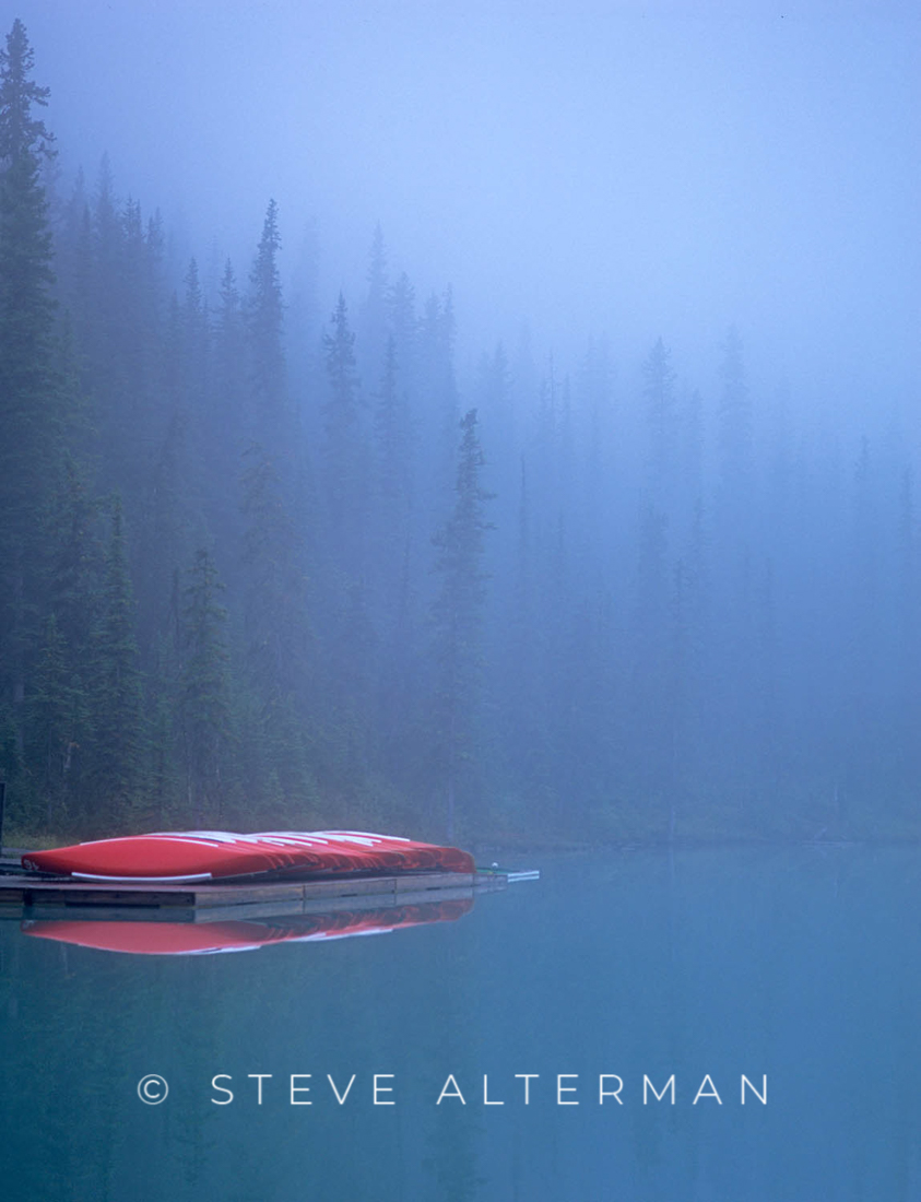 121 Canoes in the Fog, Lake Louise, Banff National Park