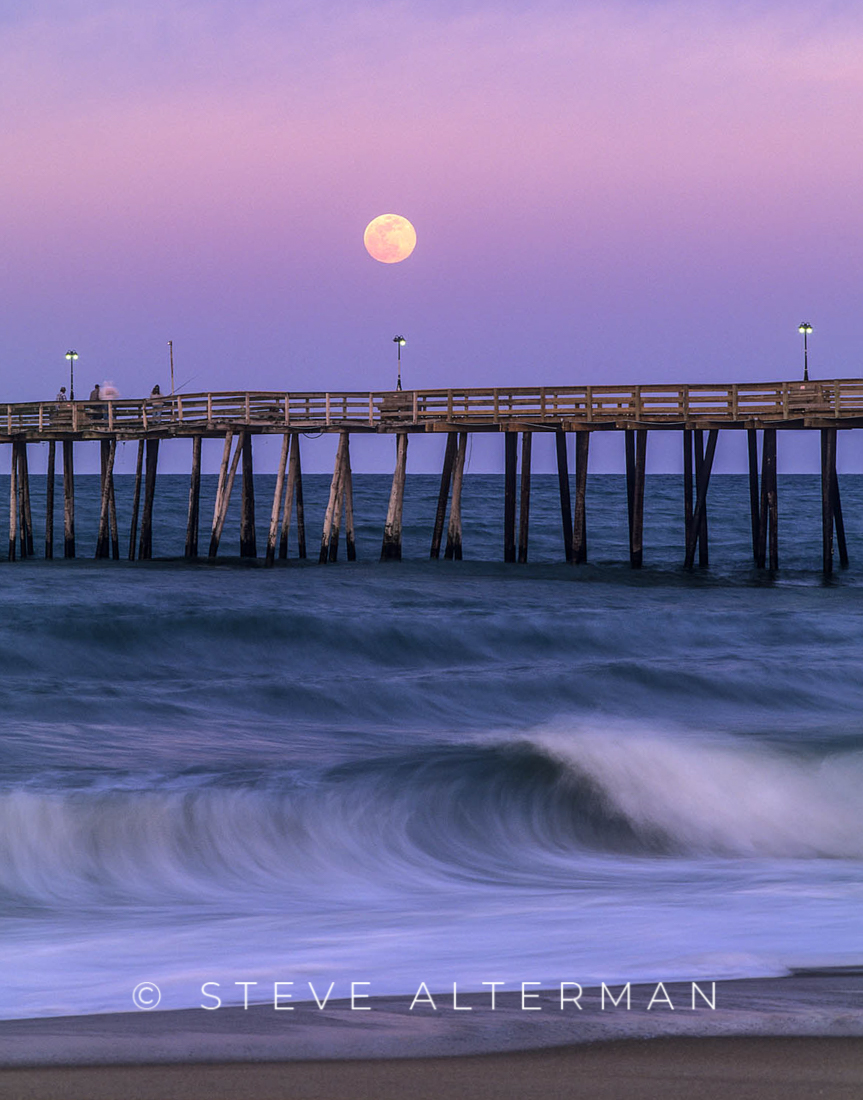 213 Moonrise Over Kitty Hawk Pier