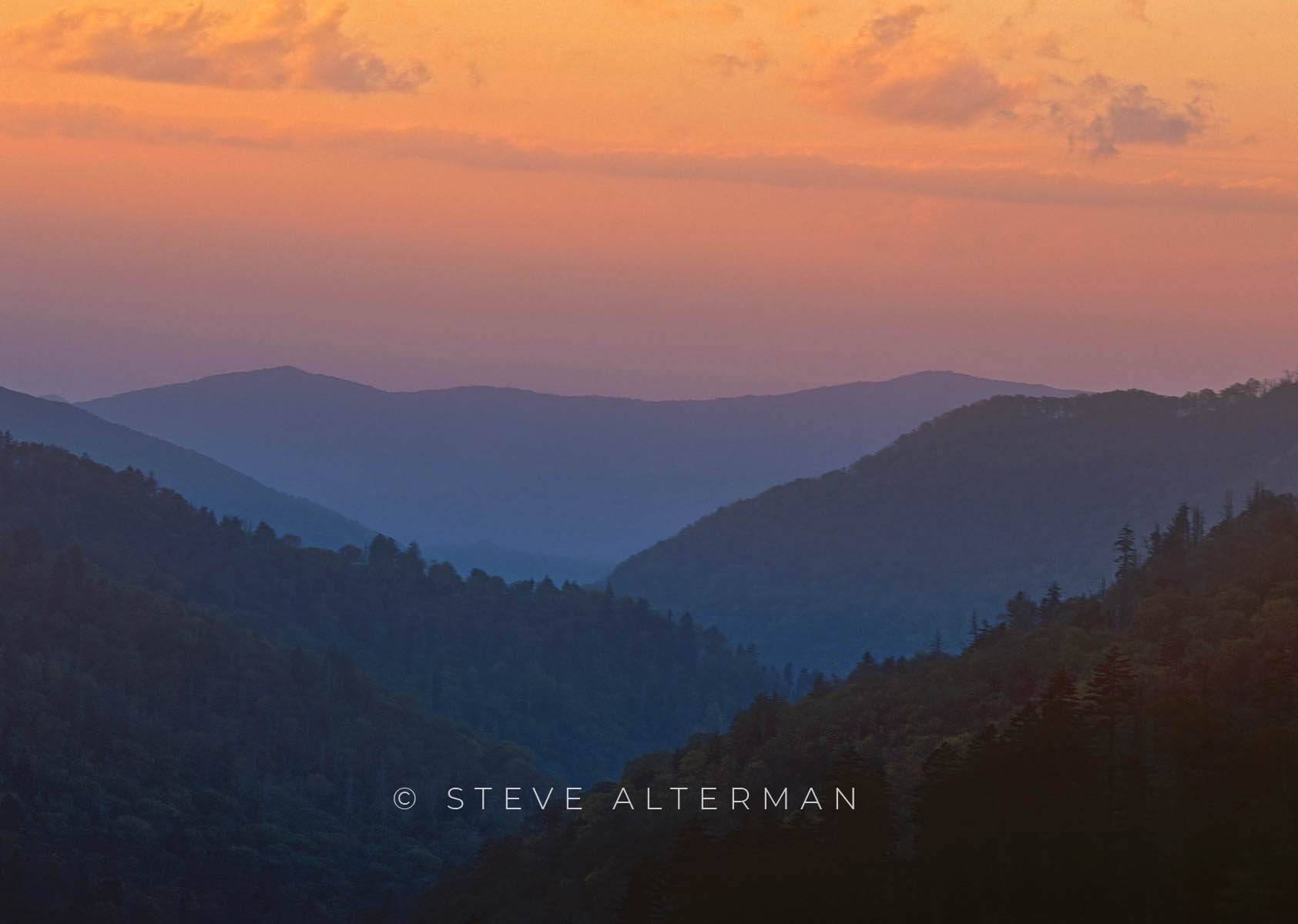 832 Dusk at Moton's Overlook - Great Smoky Mountains NP